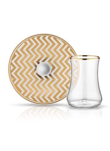 Dervish Çay Set 6'lı Zigzag Beyaz Prl Altın-Koleksiyon